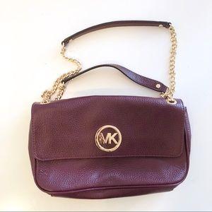 Michael Kors burgundy leather chain flap purse